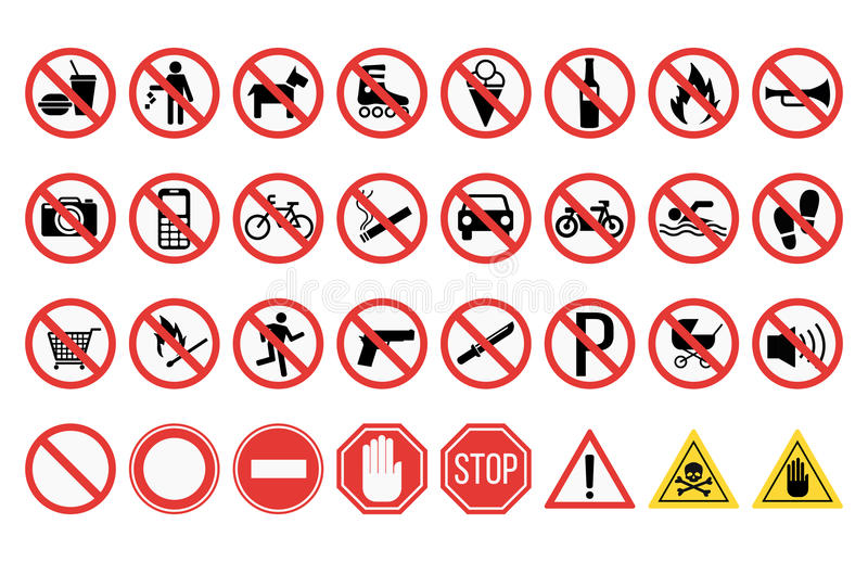I segni di proibizione hanno messo l'illustrazione di vettore di informazioni della sicurezza illustrazione di stock