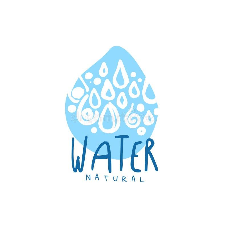 I segni disegnati a mano di goccia di acqua pura modellano il logo con testo illustrazione vettoriale