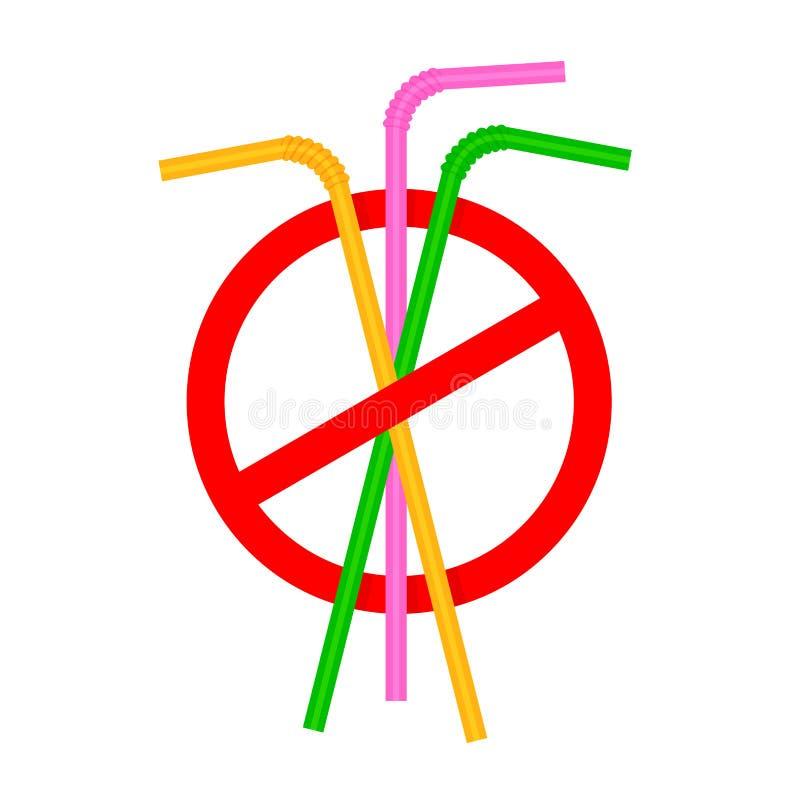 I segni fermano la plastica del tubo della paglia, rifiuto di cannuccia di plastica eliminabile a favore delle cannucce, bere del royalty illustrazione gratis