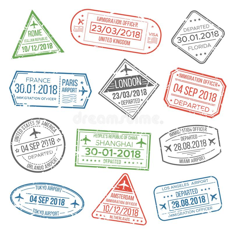 I segni o l'aeroporto del passaporto del prestigio di viaggio di visto timbra con il paese dell'inquadratura Bollo d'annata dell' illustrazione vettoriale
