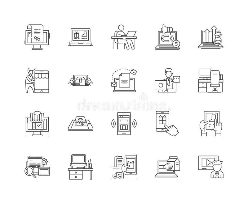 I servizi di commercio elettronico allineano le icone, i segni, l'insieme di vettore, concetto dell'illustrazione del profilo royalty illustrazione gratis