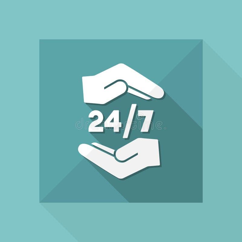 i servizi per la protezione 24/7 di costanti - icona di web di vettore illustrazione vettoriale