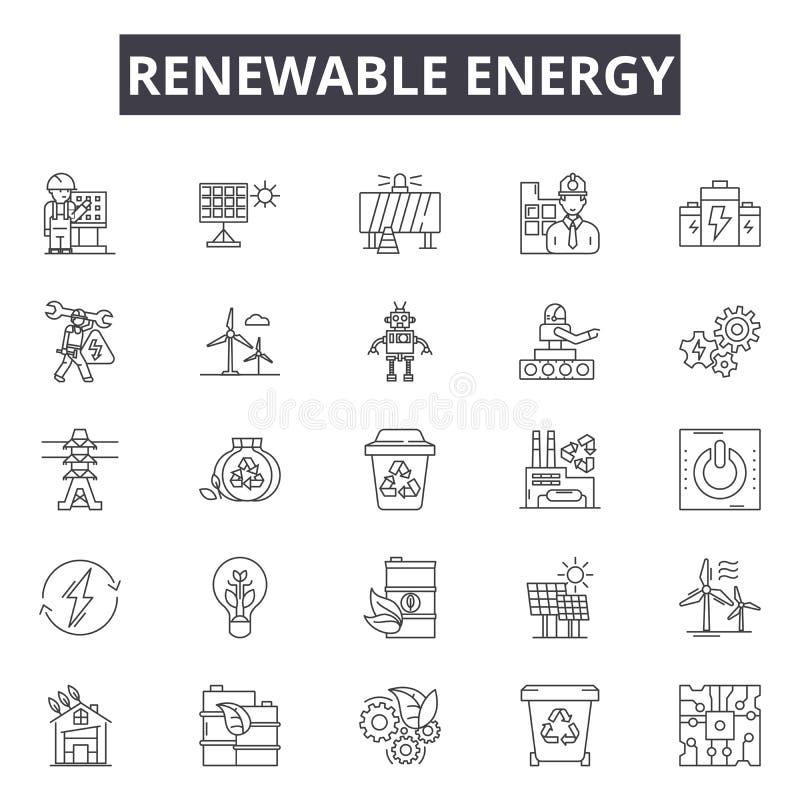 I servizi rinnovabili allineano le icone, i segni, l'insieme di vettore, concetto dell'illustrazione del profilo illustrazione di stock
