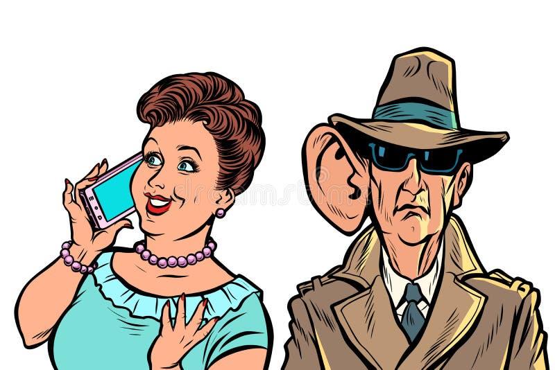 I servizi segreti dello stato ascoltano di nascosto sulle conversazioni telefoniche dei cittadini illustrazione di stock