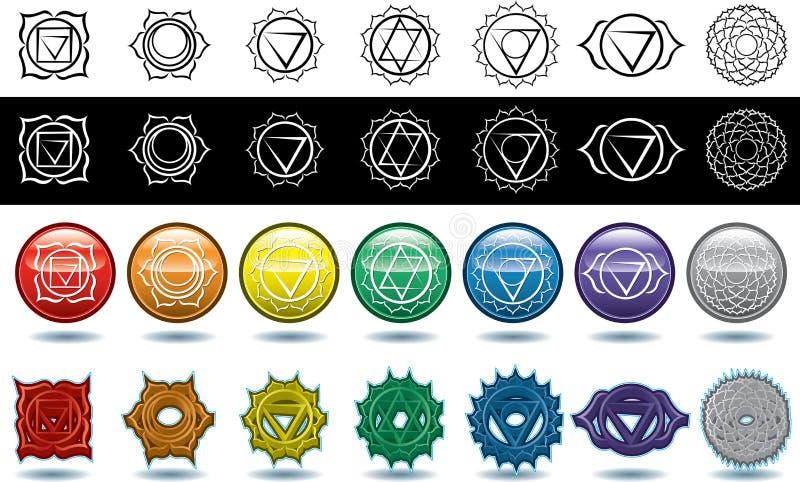 I sette chakras di yoga illustrazione di stock