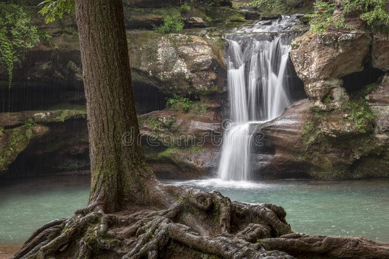 I Shall Not Be Moved - Upper Falls at Old Man`s Cave stock images