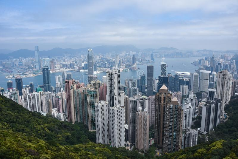 THE VICTORIA BAY OF HONG KONG FROM AL royalty free stock images