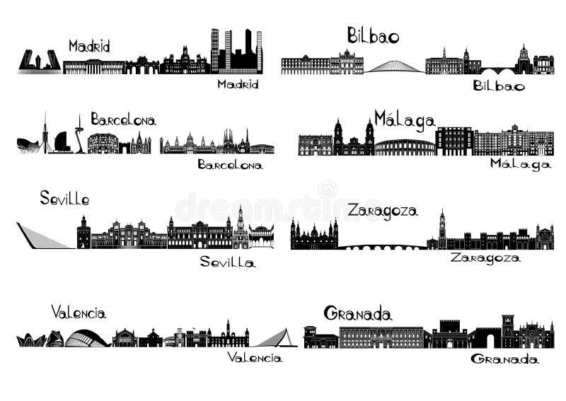 I signts della siluetta di 8 città della Spagna illustrazione vettoriale