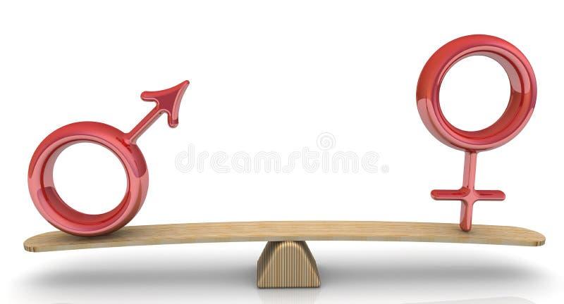 I simboli del maschio e della femmina sono pesati sulle scale royalty illustrazione gratis