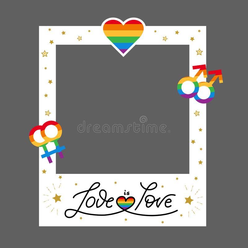 I simboli della struttura LGBT di orgoglio di vettore amano l'arcobaleno immagine stock libera da diritti