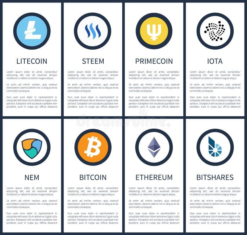 I simboli di Cryptocurrency con il campione manda un sms ai manifesti illustrazione di stock
