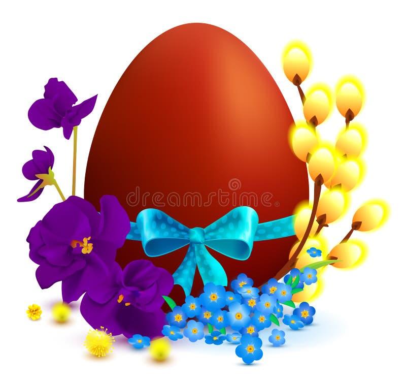 I simboli di festa di Pasqua hanno colorato l'uovo, ramo del salice, l'arco blu, fiore della viola illustrazione di stock