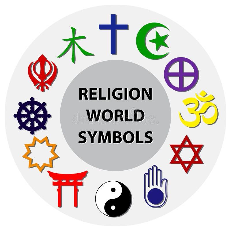 I simboli di religione del mondo hanno colorato i segni dei gruppi religiosi e delle religioni importanti illustrazione di stock