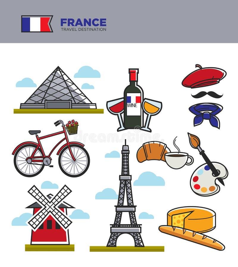 I simboli di turismo di viaggio della Francia ed i punti di riferimento francesi famosi della cultura vector le icone illustrazione vettoriale