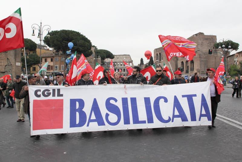 I sindacati italiani dimostrano a Roma immagine stock libera da diritti