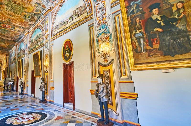 I slott för Grandmaster` s Valletta, Malta arkivbilder