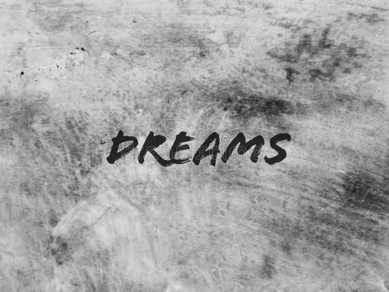 I sogni di parola sui precedenti grigio scuro fotografie stock libere da diritti