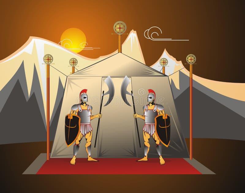 I soldati custodicono la tenda del comandante. illustrazione vettoriale
