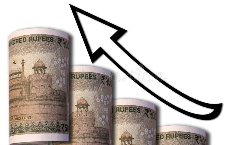 I soldi che assomigliano ad un grafico aumentante con una freccia indicante ascendente che simbolizza le relazioni economiche immagini stock libere da diritti