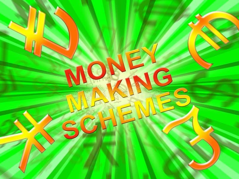I soldi che fanno gli schemi significano l'illustrazione del sistema 3d di ricchezza illustrazione di stock