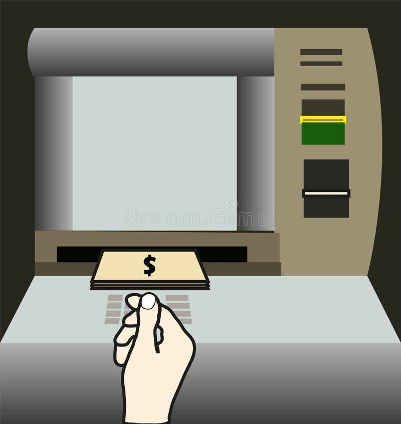 I soldi di bancomat si ritirano illustrazione vettoriale