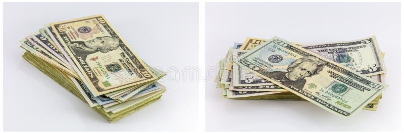 I soldi mettono in serbo il collage delle fatture dei contanti immagini stock libere da diritti