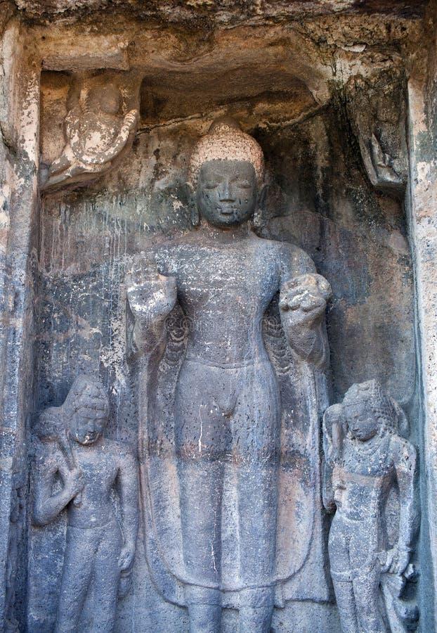 I sollievi di pietra antichi in Ajanta scava, l'India fotografie stock
