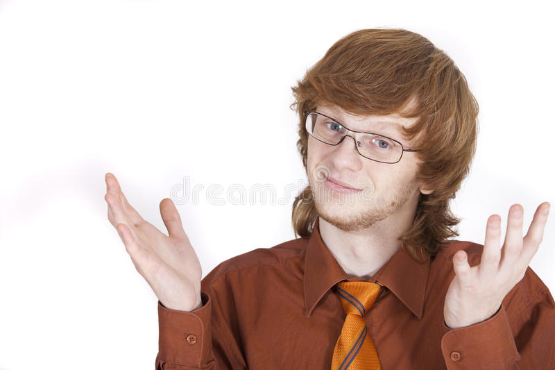 I am sorry. Young businessman with sorry look over white royalty free stock photos