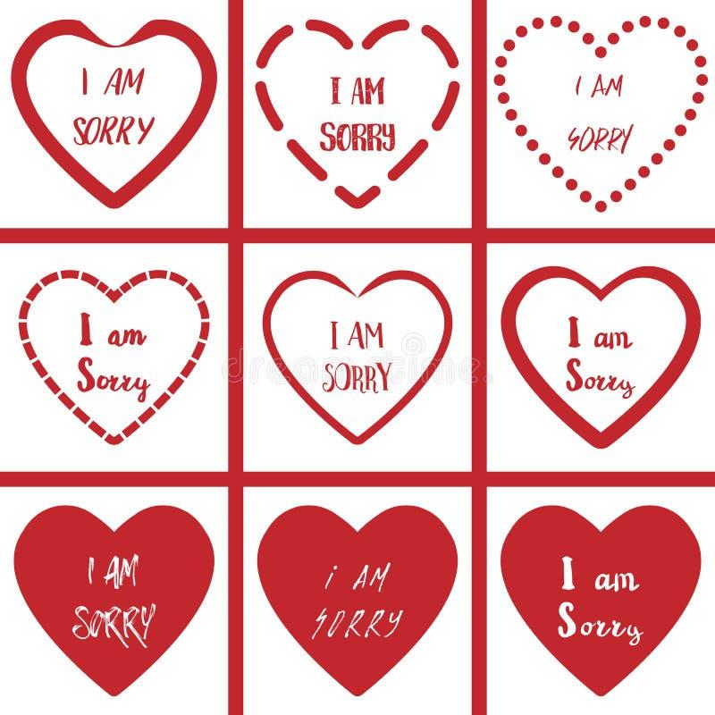 I Am Sorry With Heart Shape Symbol On White Background Set Stock