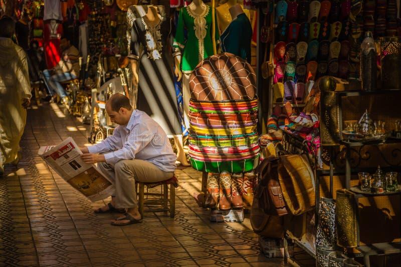 I souken av Marrakesh Medina arkivfoton