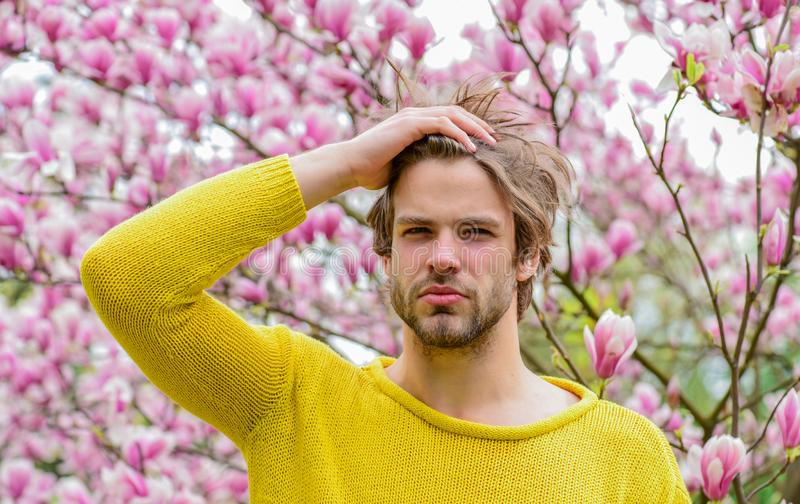 I am a spring. fresh blossom flower. unshaven man magnolia tree. sakura background. enjoy good weather. sexy guy royalty free stock image