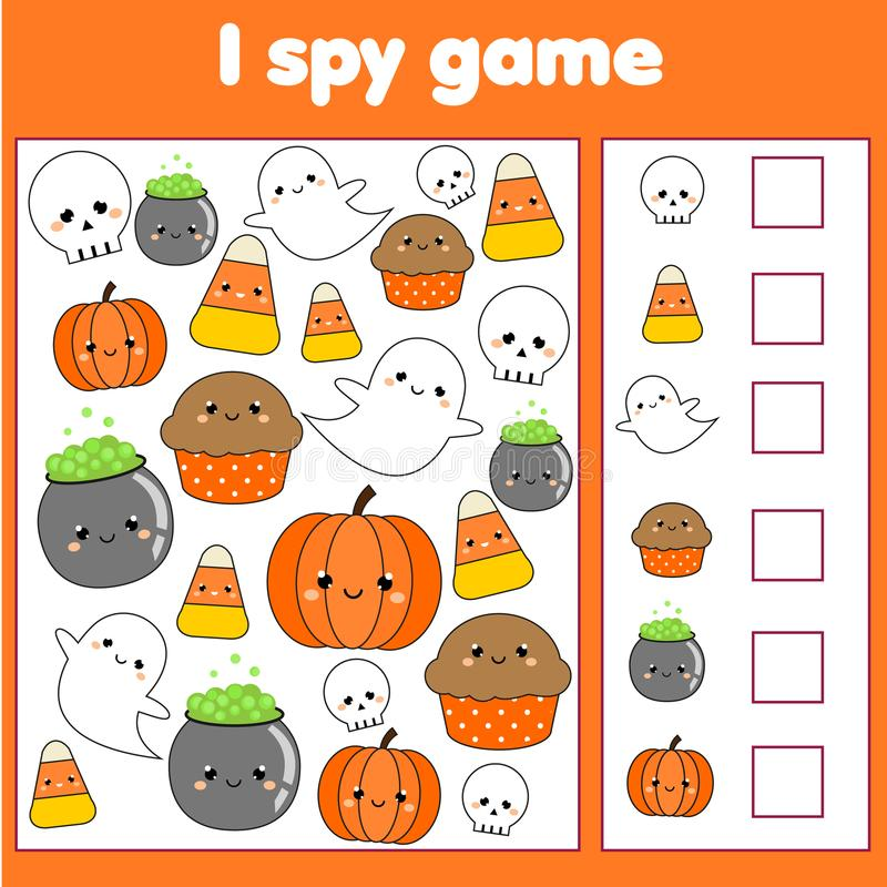 I spy game for toddlers. Find and count objects. Counting educational children activity. Halloween theme royalty free illustration
