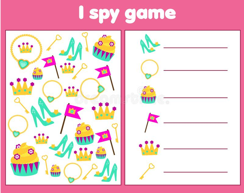 I spy game for toddlers. Find and count objects. Counting educational children activity. Princess and fairy tale theme vector illustration