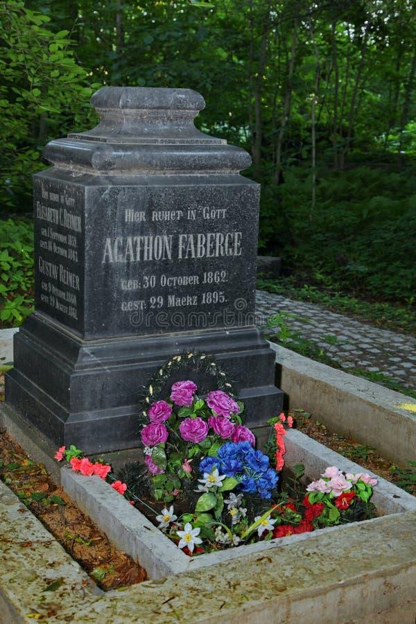I St Petersburg den återställda graven av Gustavovich Faberge Agathon 1862-1895 arkivbilder