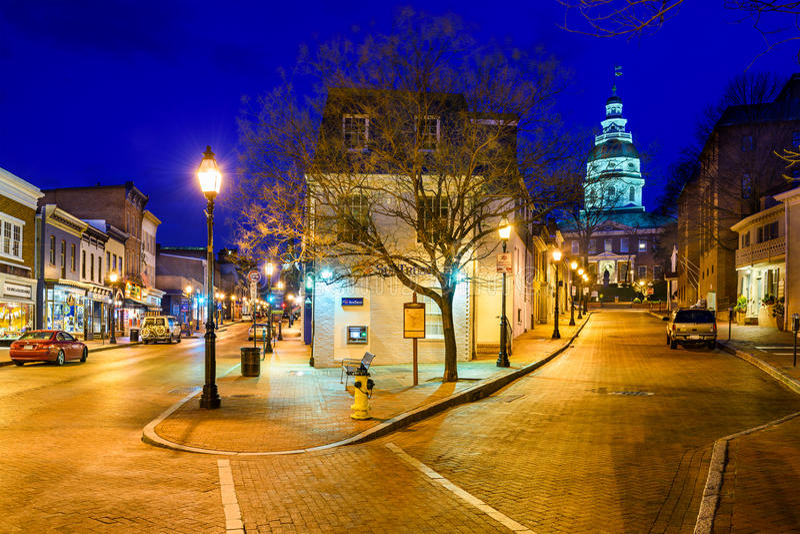 I stadens centrum Annapolis arkivfoto
