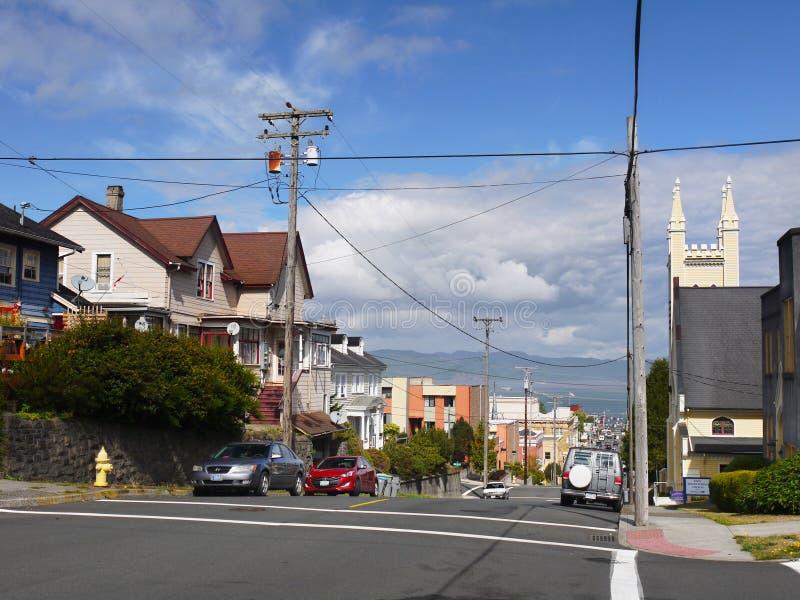 I stadens centrum Astoria, Oregon Förenta staterna royaltyfri foto