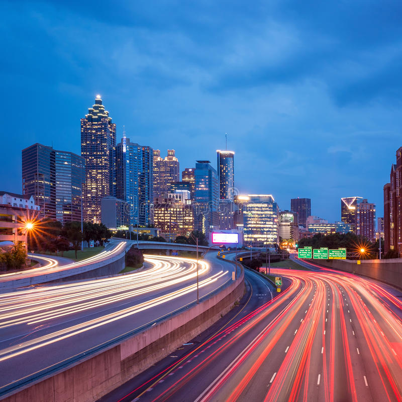 I stadens centrum Atlanta, Georgia, USA horisont arkivfoto