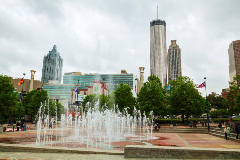 I stadens centrum Atlanta på en mulen dag royaltyfria bilder