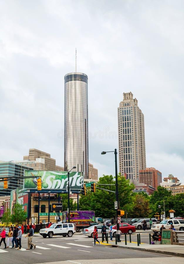 I stadens centrum Atlanta på en mulen dag fotografering för bildbyråer