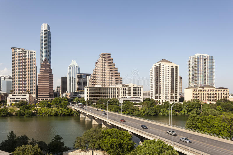 I stadens centrum Austin Skyline, Texas arkivfoto