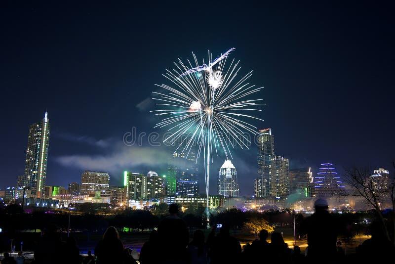 I stadens centrum Austin, Tx fyrverkerier royaltyfria foton