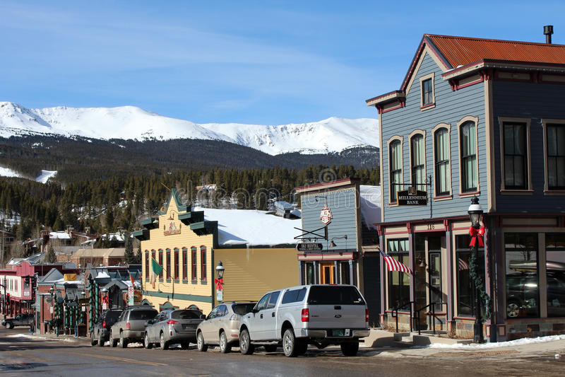 I stadens centrum Breckenridge, Colorado arkivfoton