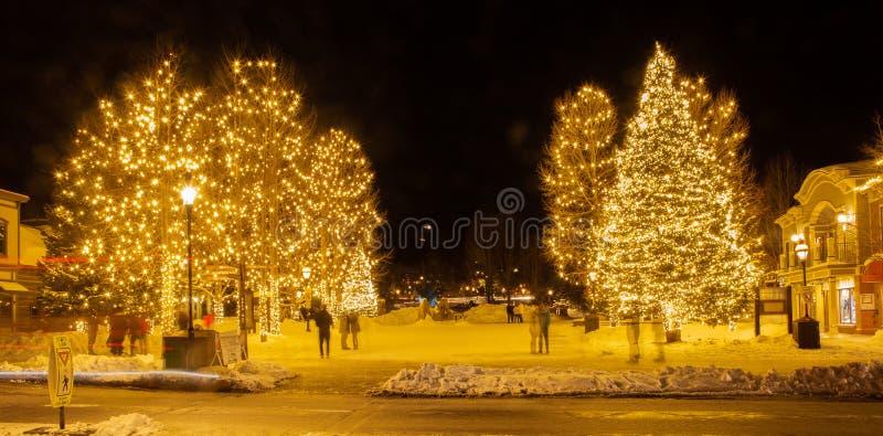 I stadens centrum Breckenridge Colorado i vintertid fotografering för bildbyråer