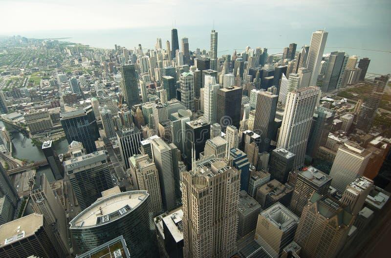 I stadens centrum Chicago flyg- sikt arkivfoto