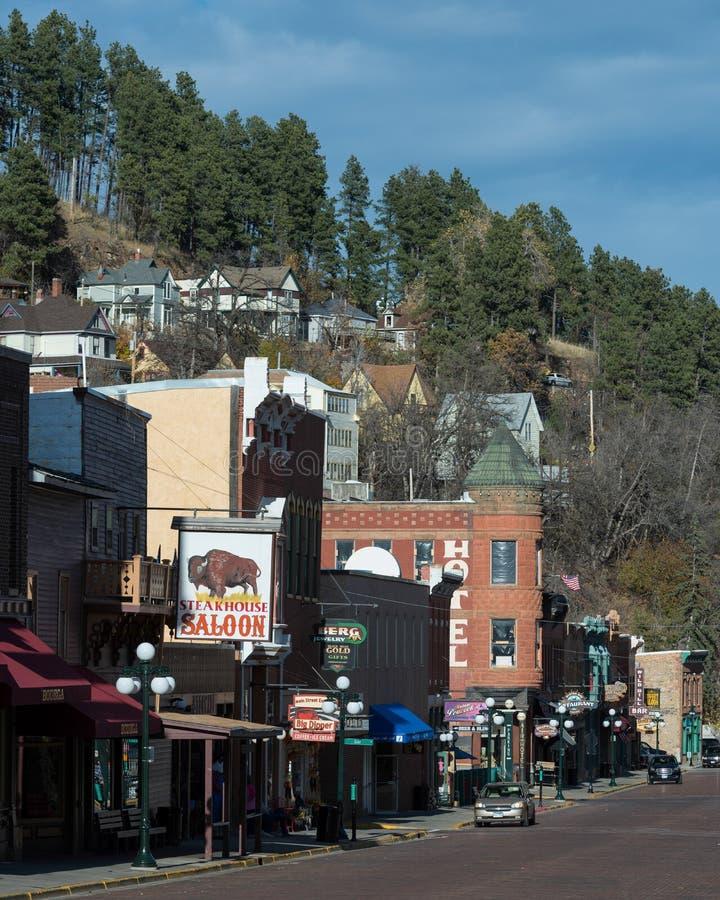 I stadens centrum Deadwood arkivfoto