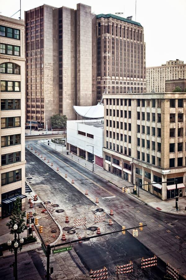 i stadens centrum detroit royaltyfri fotografi