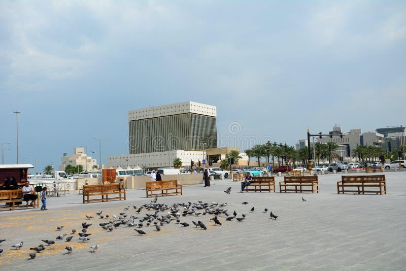 I stadens centrum Doha, Qatar arkivbilder
