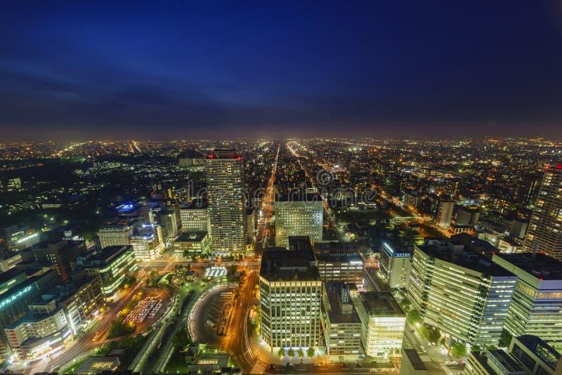 I stadens centrum flyg- sikt av den Sapporo staden royaltyfri fotografi