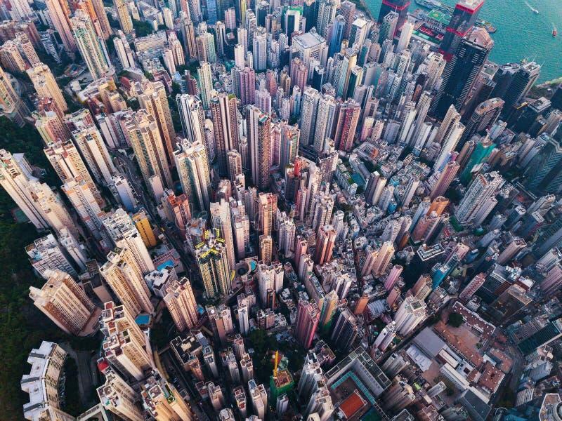 i stadens centrum flyg- sikt av Hong Kong Finansiell område och busine royaltyfria bilder