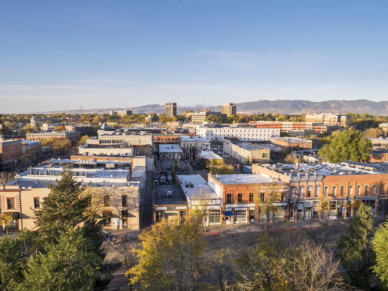 I stadens centrum Fort Collins royaltyfria foton